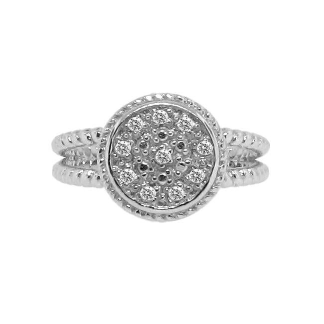 Sterling Silver 1/10ct TDW Diamond Accent Circle Ring (H-I, I3) - Thumbnail 0