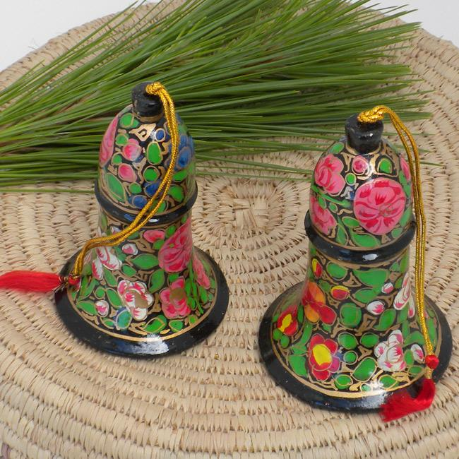Set of 2 Paper Mache Flowers Bell Christmas Ornaments (India)