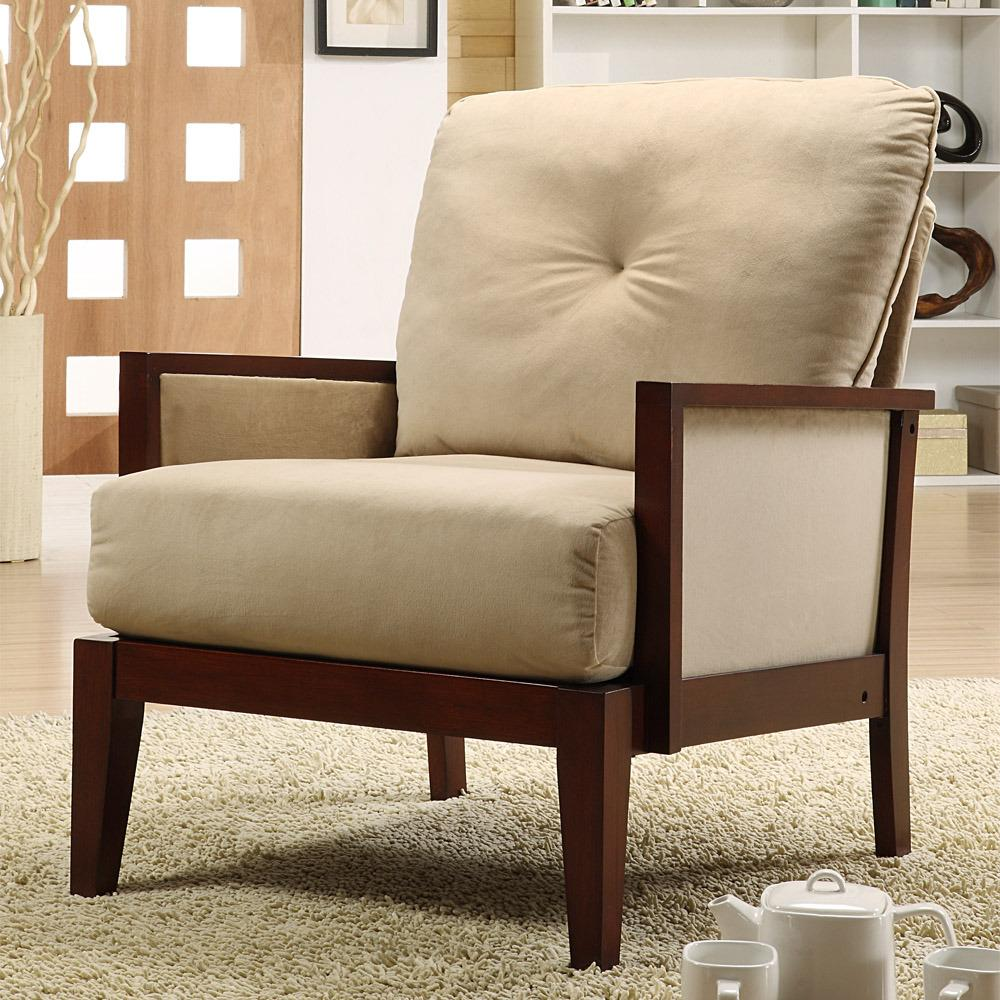 Living Room Accent Chair With Boats: Caney Brown Microfiber Accent Chair