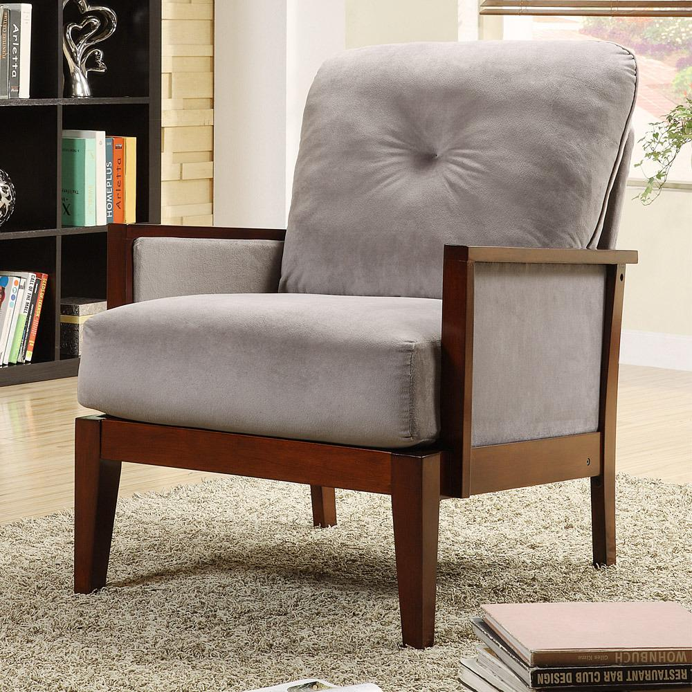 Caney grey microfiber accent chair free shipping today 13090394 for Microfiber accent chairs living room