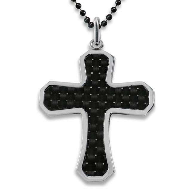 West Coast Jewelry Stainless Steel Black Carbon Fiber Inlay Cross Necklace