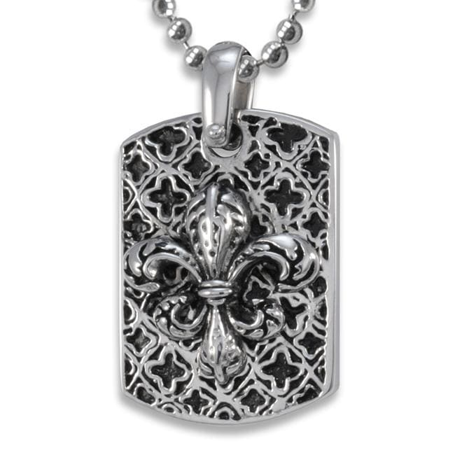 West Coast Jewelry Stainless Steel Fleur de Lis Antiqued Dog Tag Necklace