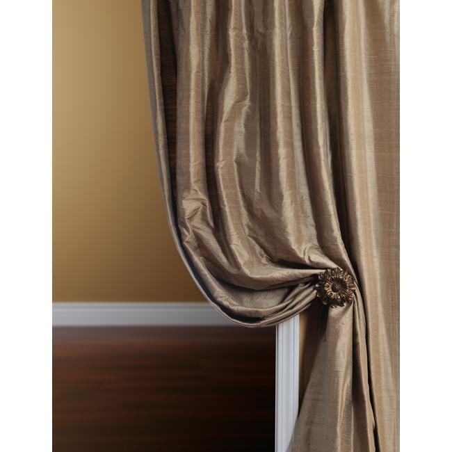Exclusive Fabrics Signature Fawn Textured Silk 108-inch Curtain Panel