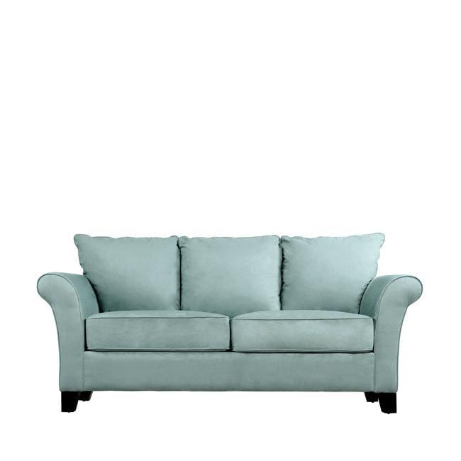 Provant Flared-arm Sky Blue Microfiber Sofa
