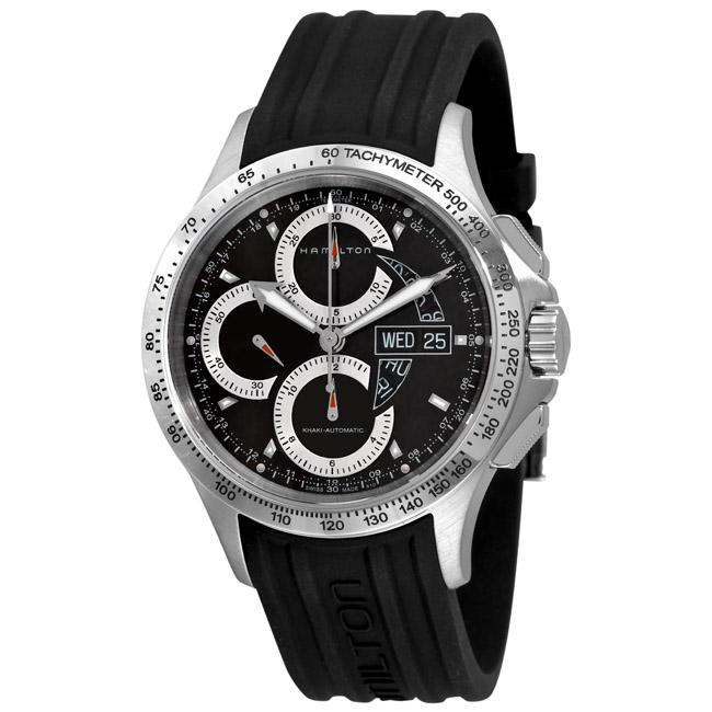 52b1089ed Shop Hamilton Men's 'Khaki King' Rubber Strap Automatic Chronograph Watch - Free  Shipping Today - Overstock - 5283065