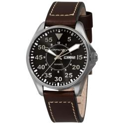 Hamilton Men's 'Khaki King Pilot' Brown Strap Day/ Date Watch