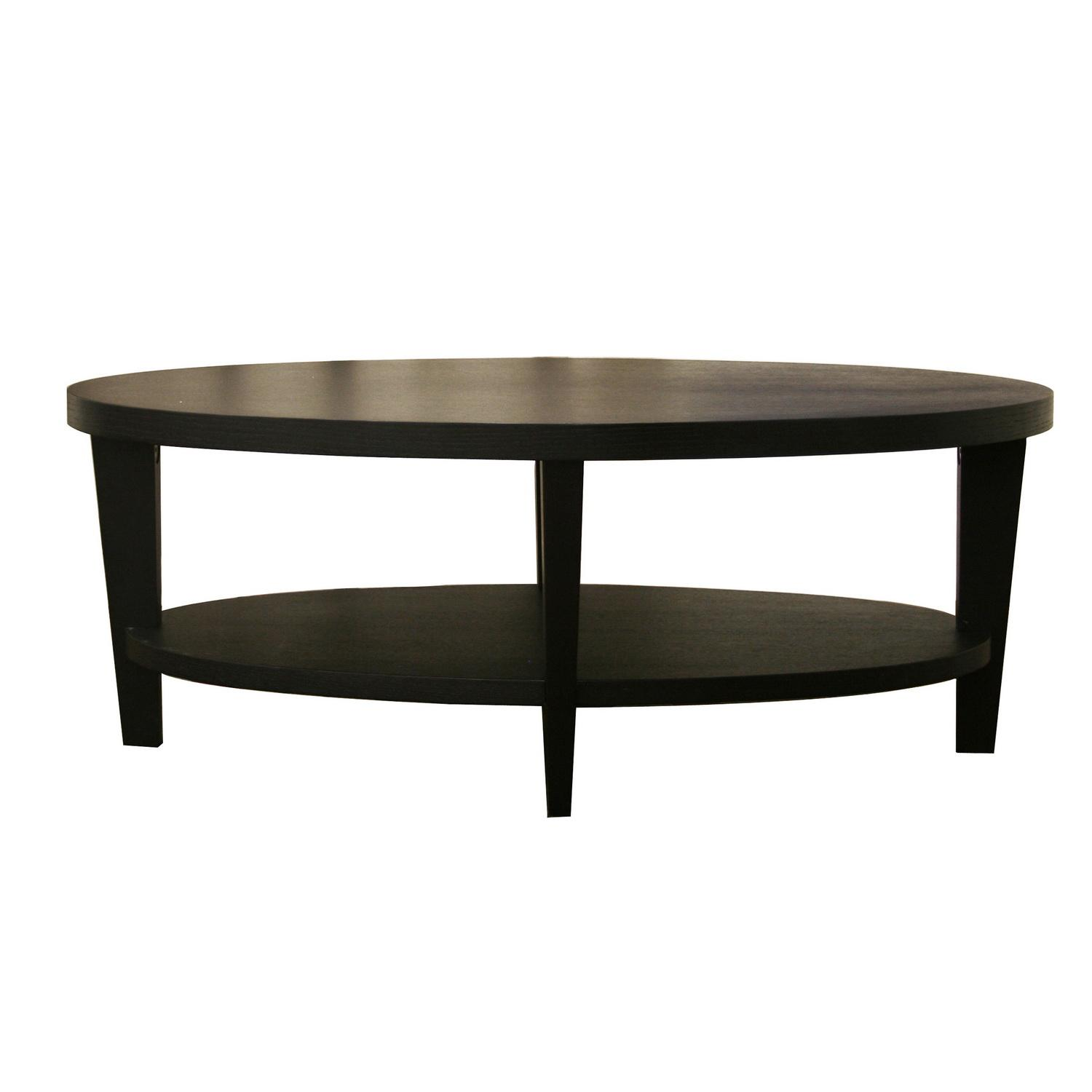 charleston modern oval black wood coffee table  free shipping  - charleston modern oval black wood coffee table