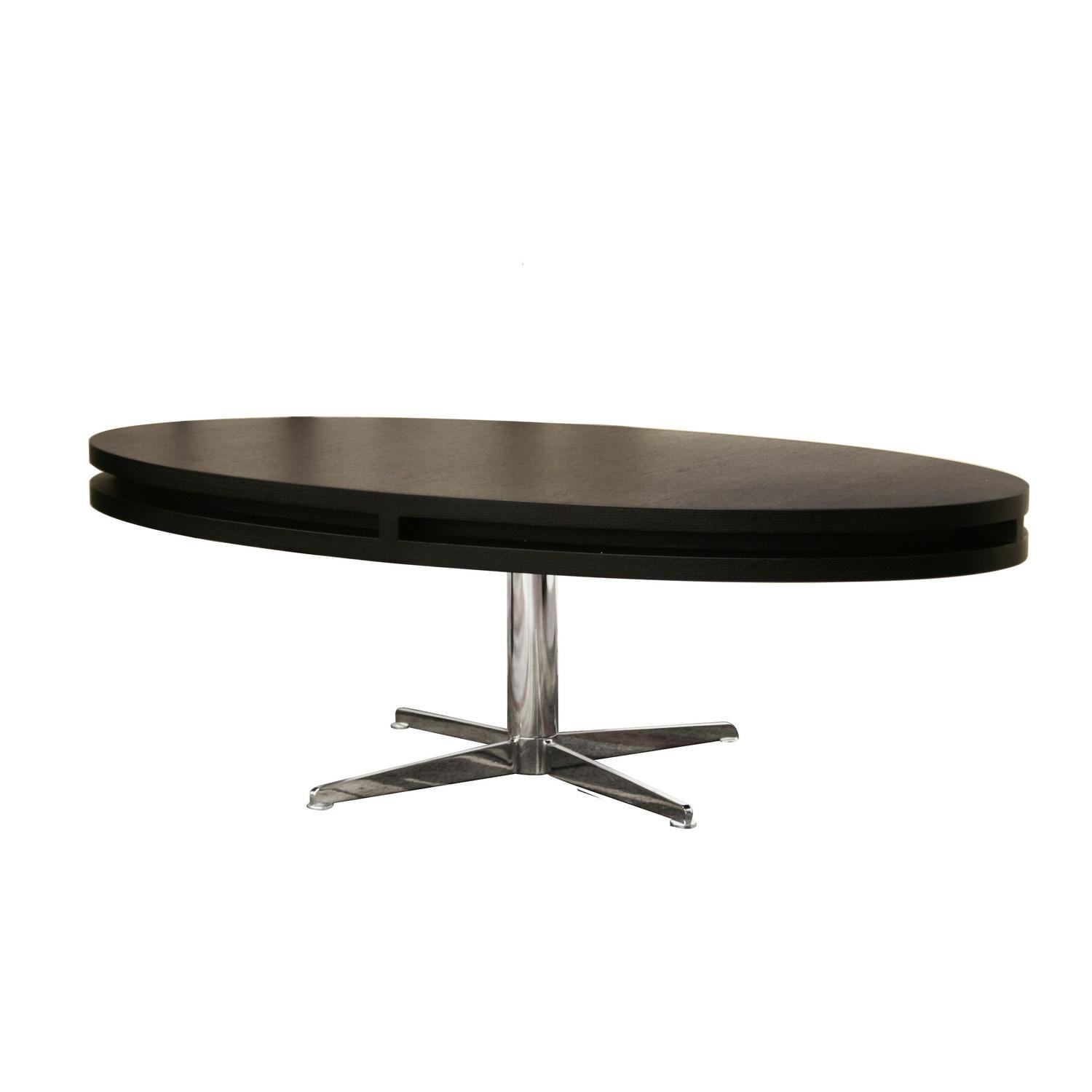 Oval Rotating Coffee Table: McKenzie Modern Black Oval Rotating Coffee Table
