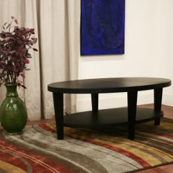 charleston modern oval black wood coffee table - free shipping
