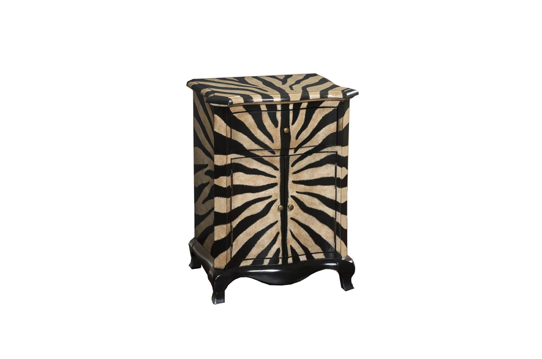 Hand Painted Zebra Print Accent Chest Free Shipping