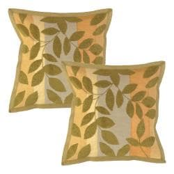 Leaves Olive Decorative Pillows (Set of 2)