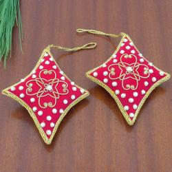 Set of 2 Red Diamond-shaped Holiday Ornaments (India)