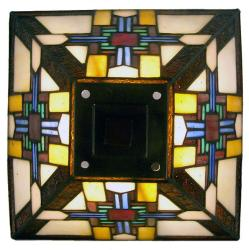 Tiffany-style Mission Amber Accent Lamp