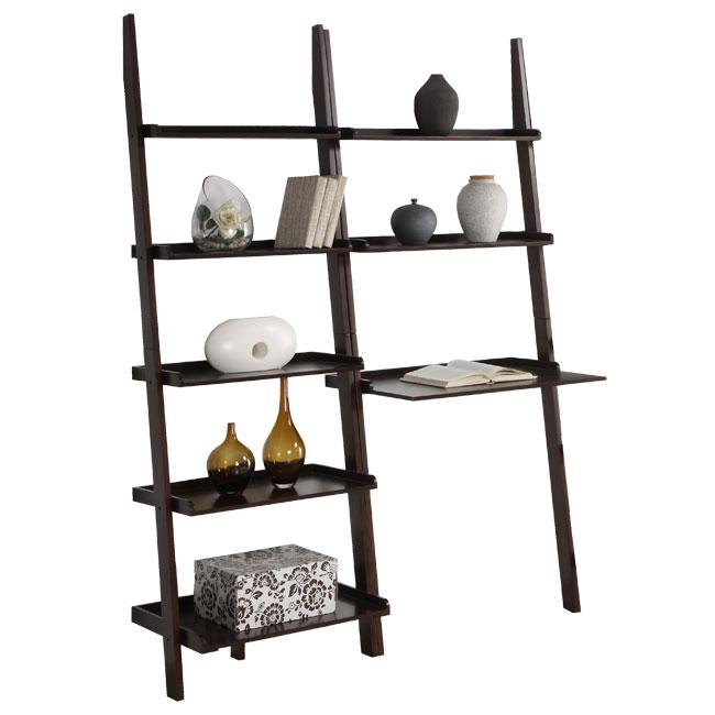 Cappuccino 5 Tier 2 Piece Leaning Ladder Shelf With Laptop