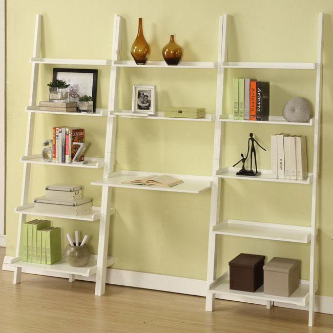 White 3-piece Leaning Ladder Shelf with Laptop Desk