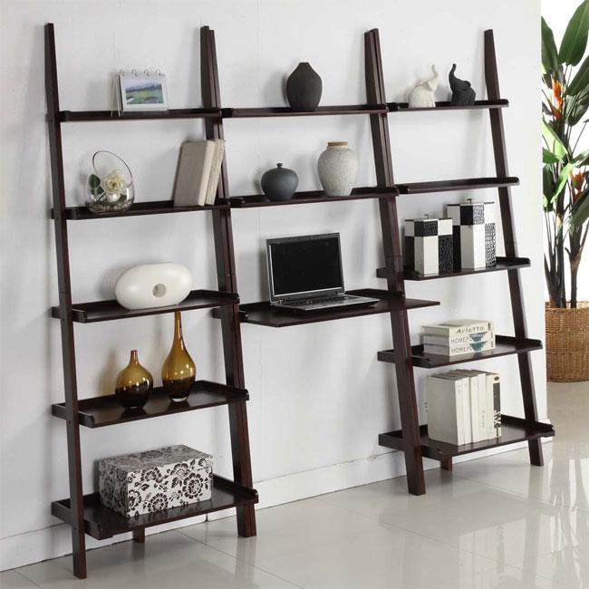 Walnut 3 Piece Leaning Ladder Shelf With Laptop Desk