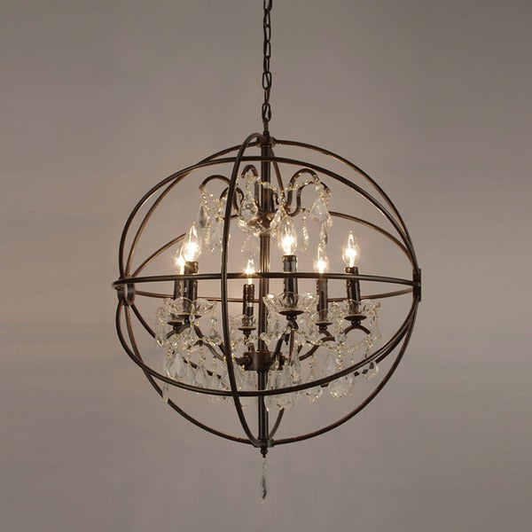 Foucault s Orb Crystal Iron 6 light Chandelier Free