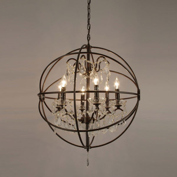 Spherical Orb Crystal Iron 6 Light Chandelier