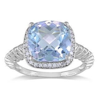 Miadora 10k White Gold Blue Topaz and 1/6ct TDW Diamond Fashion Ring (H-I, I2-I3)