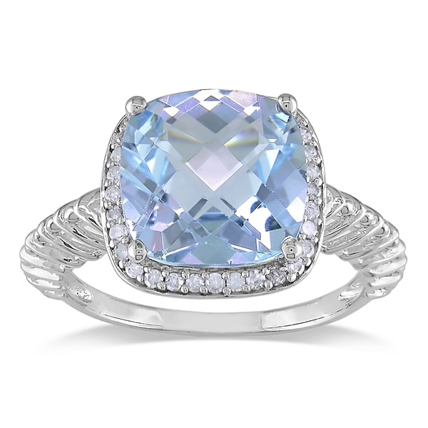 Miadora 10k White Gold Blue Topaz and 1/6ct TDW Diamond Fashion Ring (H-I, I2-I3)