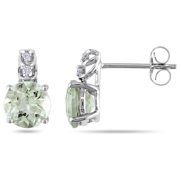 Miadora 10k White Gold Green Amethyst and Diamond Accent Earrings (H-I, I2-I3)