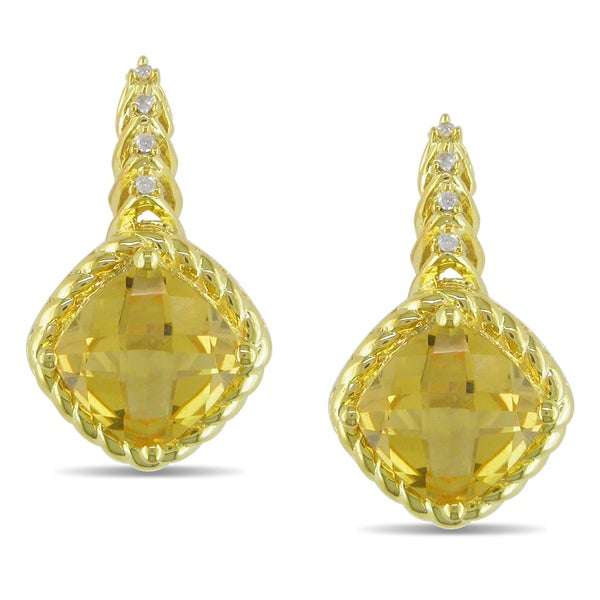 Miadora 10k Yellow Gold Citrine and Diamond Accent Earrings (H-I, I2-I3)