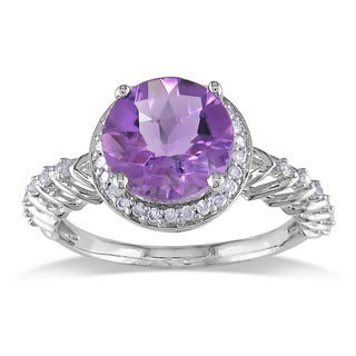 Miadora 10k White Gold Amethyst and 1/5ct TDW Diamond Fashion Ring (H-I, I2-I3)