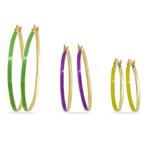 Miadora Three-piece Multi-Colored Enamel Hoop Earrings
