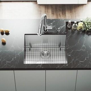 VIGO 23-Inch Undermount Satin-Finished Stainless-Steel Kitchen Sink, Grid and Strainer