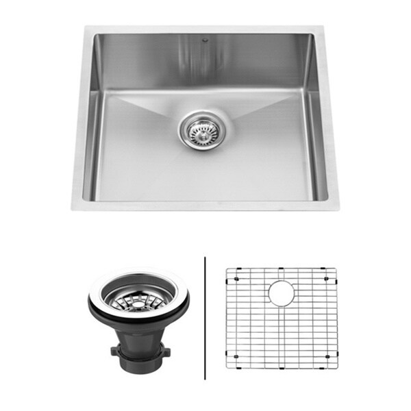 VIGO 23-inch Undermount Stainless Steel Kitchen Sink with Rounded Edge, Grid and Strainer