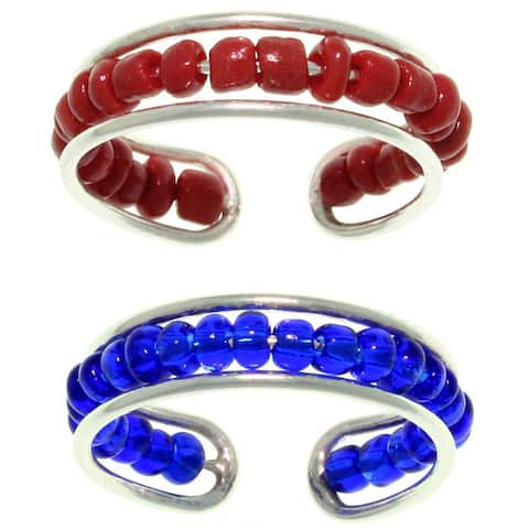 Carolina Glamour Collection Sterling Silver Red or Blue Seed Bead Toe Ring