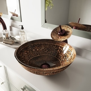 VIGO Golden Greek Glass Vessel Sink and Waterfall Faucet Set in Oil Rubbed Bronze