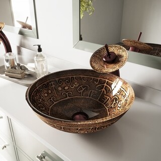 VIGO Golden Greek Glass Vessel Bathroom Sink and Waterfall Faucet Set