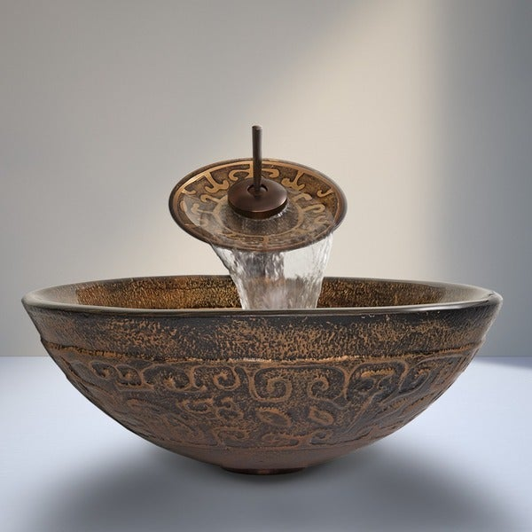 Shop Vigo Golden Greek Glass Vessel Sink And Waterfall