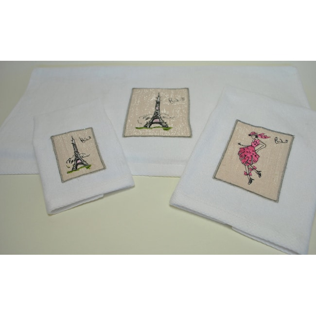 Paris Embroidered Decorative 3-piece Towel Set - Thumbnail 0