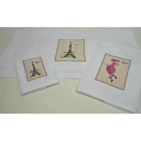 Paris Embroidered Decorative 3-piece Towel Set