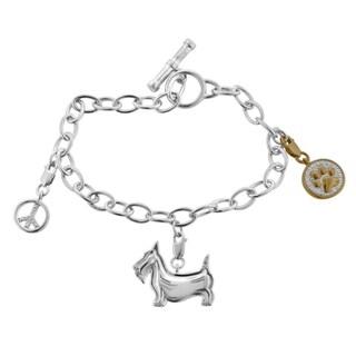 Tender Voices Sterling Silver 1/10cttw Scottie Dog Charm Bracelet
