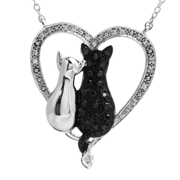 Tender Voices Sterling Silver 1/3CTtw Black and White Diamond Mom Cat and Kitten Heart Pendant