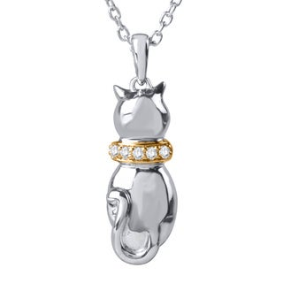 Tender Voices Sterling Silver and 10k Yellow Plate Diamond Accent Cat Pendant