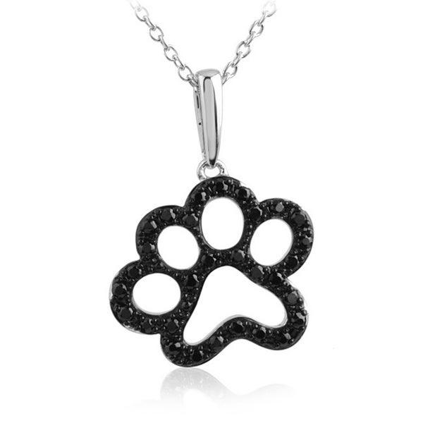 ASPCA Tender Voices Sterling Silver 0.34CTtw Black Diamond Paw Necklace