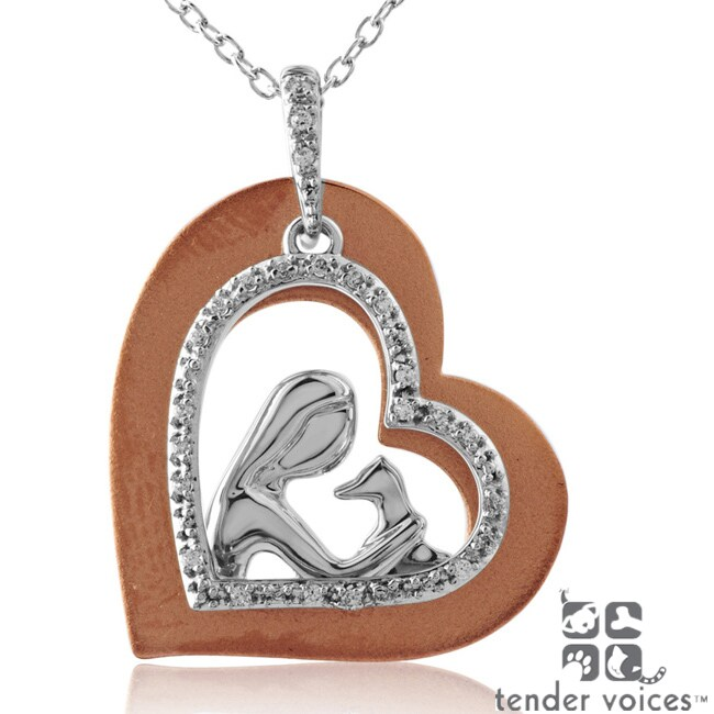 ASPCA Tender Voices Silver/ Gold 1/10ct TDW Diamond Necklace (I-J, I2-I3)