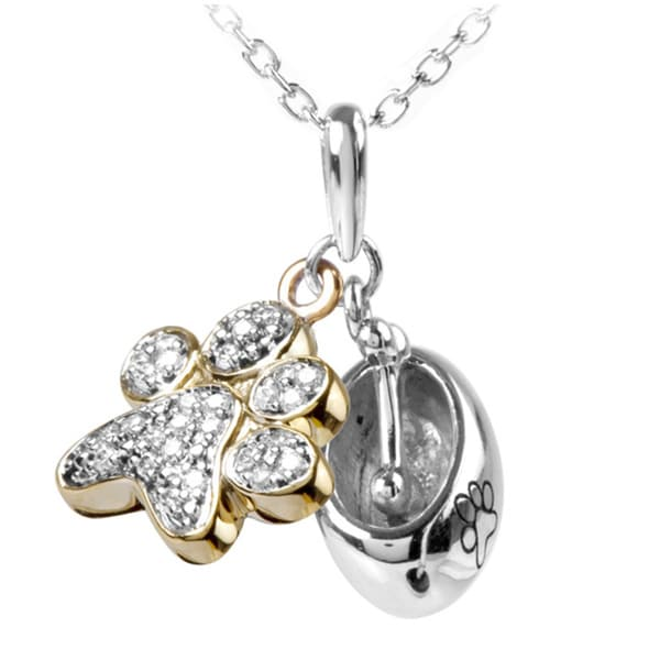ASPCA Tender Voices Sterling Silver 1/10ct Diamond Accent Paw Necklace (I-J, I2-I3)