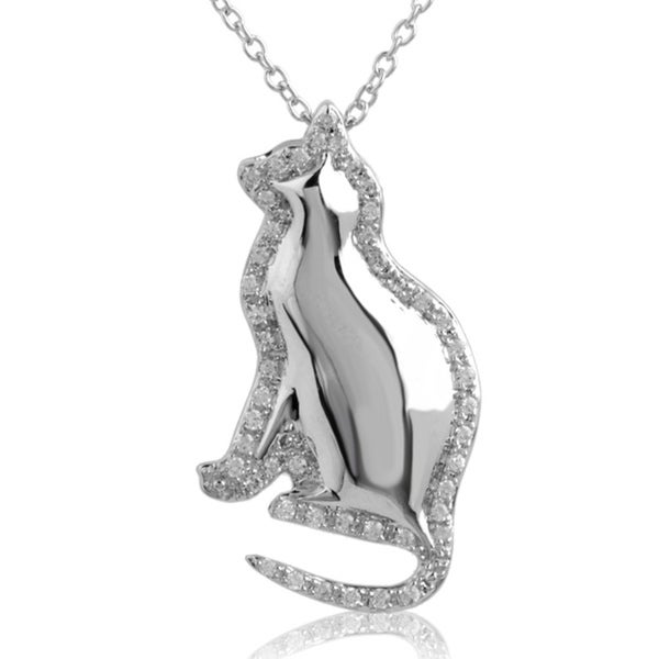 ASPCA Tender Voices Sterling Silver 1/4CTtw Diamond Cat Necklace (I-J, I2-I3)