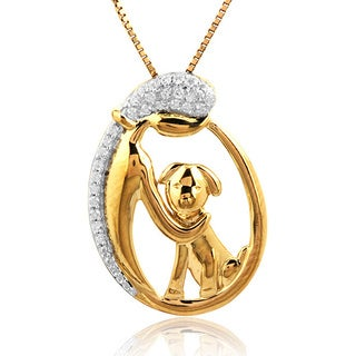 ASPCA Tender Voices Sterling Silver with 10k Yellow Gold Plate Lady and Dog 1/10CTtw Diamond Accent Necklace (I-J, I2-I3)