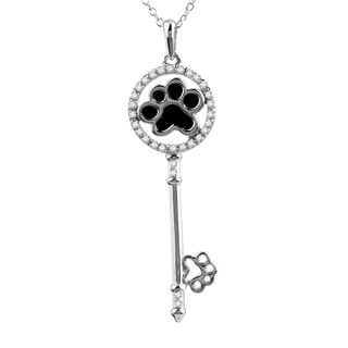 ASPCA Tender Voices Sterling Silver 1/10CTtw Diamond Accent Key Necklace (I-J, I2-I3)