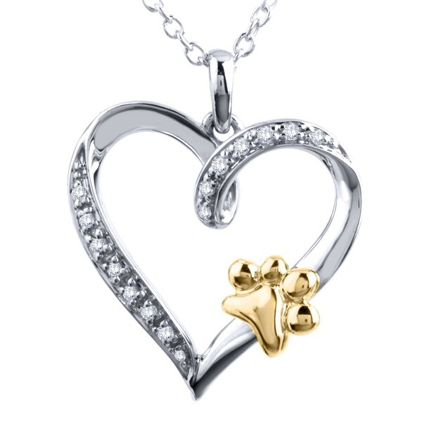 Tender Voices Diamond Accent Paw on a Heart Pendant in Sterling Silver with Yellow Plate