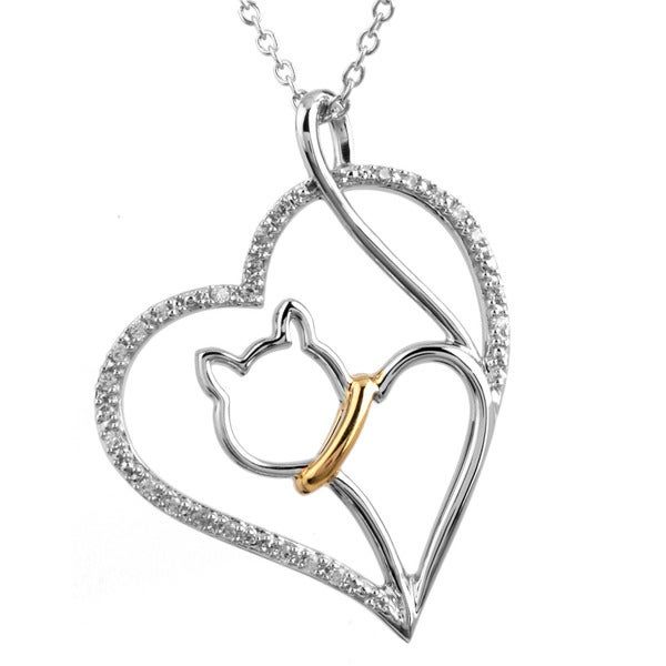 Tender Voices Sterling Silver with Gold Plate 1/10CTtw Cat Heart Diamond Pendant