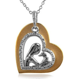 Tender Voices Sterling Silver with 10k 3 Micro Plating 1/10CTtw Diamond Heart Necklace