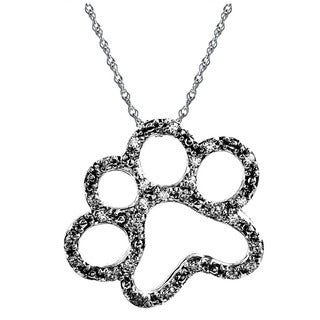 ASPCA Tender Voices Sterling Silver Paw 1/10CTtw Diamond Accent Necklace (I-J, I2-I3)