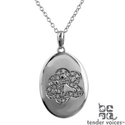 ASPCA Tender Voices Silver 1/10ct TDW Diamond Medallion Necklace (I-J, I2-I3)
